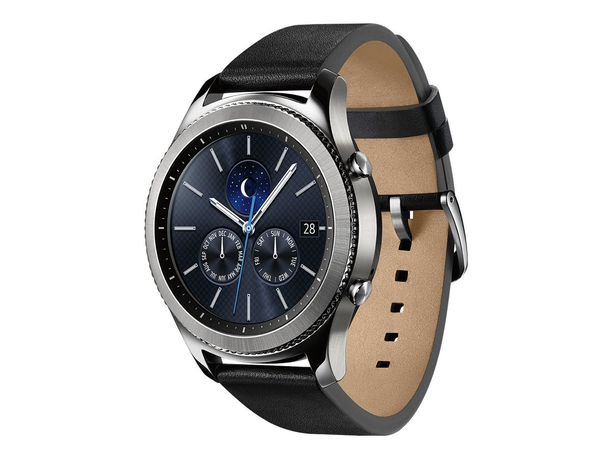 Samsung Gear S3 Classic - silver - smart watch with band - black - 4 GB