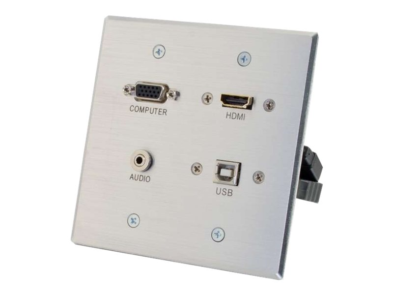 C2G HDMI, VGA, 3.5mm Audio and USB Pass Through Wall Plate - Double Gang - mounting plate
