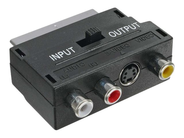 InLine - Video- / Audio-Adapter - 20-polig SCART (M) bis 4-poliger mini-DIN, RCA x 3 (W) - abgeschirmt - Schwarz