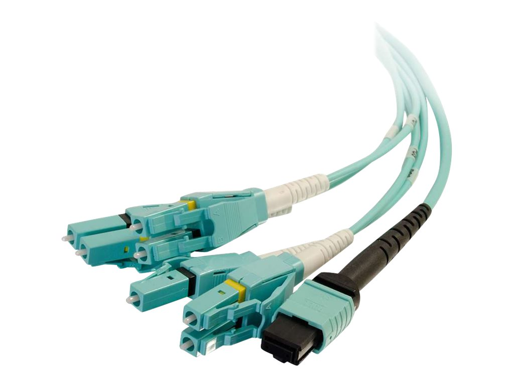 C2G 3m MPO to 4 Duplex LC Fiber Breakout Cable OM4 Riser Rated (OFNR) - Aqua - patch cable - 3 m