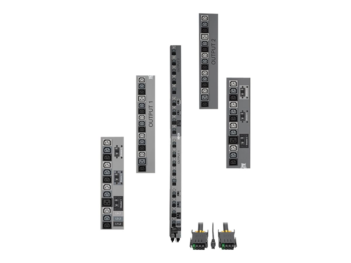 Tripp Lite 17.3kW 3-Phase Vertical PDU Strip, 208V Outlets (48 C13 & 6 C19), 0U Rack-Mount, Accessory for Select ATS PD…