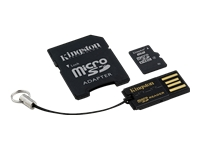 Kingston Multi-Kit / Mobility Kit - Flash memory card (microSDHC to SD adapter included) - 8 GB - Class 4 - microSDHC - with USB Reader