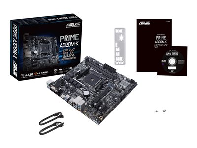 ASUS PRIME A320M-K - Carte-mère - micro ATX - Socket AM4 - AMD A320 - USB 3.0 - Gigabit LAN - carte graphique embarquée (unité centrale requise) - audio HD (8 canaux)