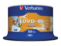 Verbatim - 50 x DVD-R - 4.7 GB 16x - wide photo printable surface - spindle