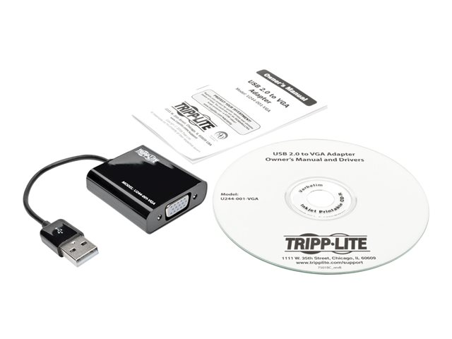 Tripp Lite USB 2.0 to VGA Dual Multi-Monitor External Video Graphics Card Adapter w/Built-In USB Cable 1080p 60 Hz
