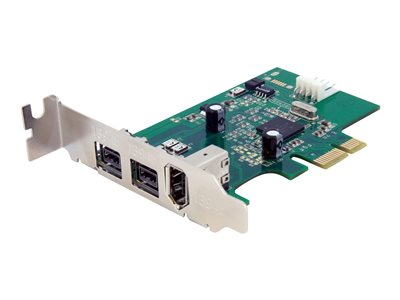 StarTech.com 3 Port 2b 1a Low Profile 1394 PCI Express FireWire Card Adapter - FireWire adapter - 2 ports