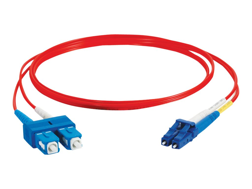 C2G 10m LC-SC 9/125 Duplex Single Mode OS2 Fiber Cable - Plenum CMP-Rated - Red- 33ft - patch cable - 10 m - red