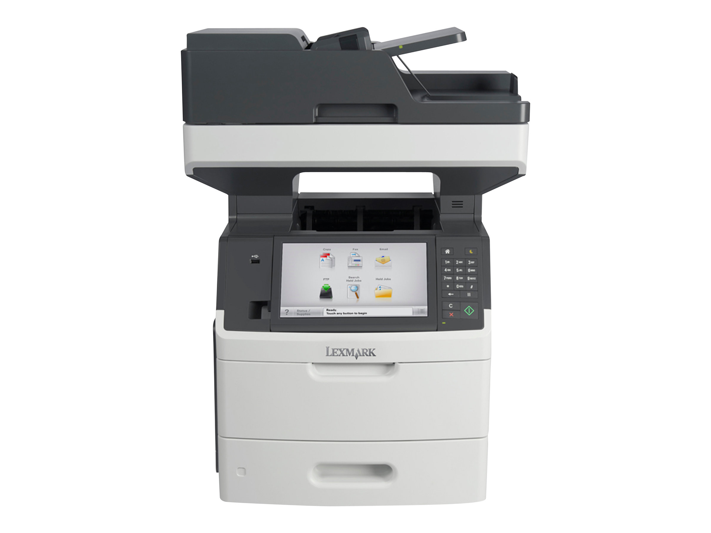 Lexmark MX711dhe - Imprimante multifonctions - Noir et blanc - laser - Legal (216 x 356 mm) (original) - Legal (support) - jusqu'à 66 ppm (copie) - jusqu'à 66 ppm (impression) - 650 feuilles - 33.6 Kbits/s - USB 2.0, Gigabit LAN, hôte USB