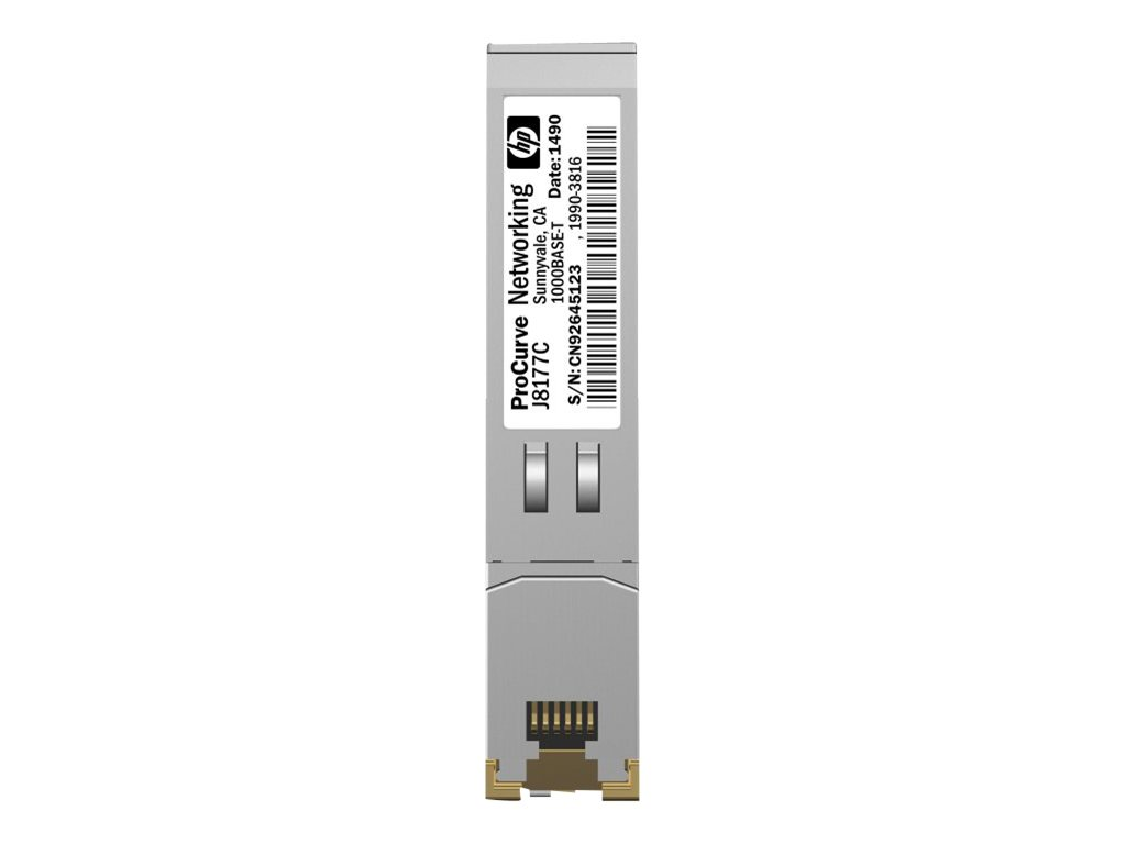 HPE - SFP (Mini-GBIC)-Transceiver-Modul - Gigabit Ethernet - 1000Base-T - RJ-45 - für Aruba 2530, 5406; HPE 1810, 1910, 20p 10/100/1000, 2610, 3500, 6200, Switch 8212, vl 20