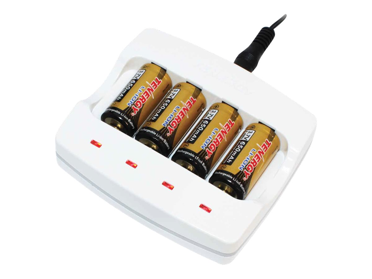 Tenergy battery charger + AC power adapter - with battery - 4 x RCR123A - Li-Ion