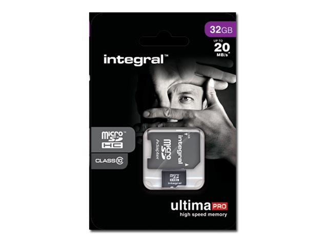Integral UltimaPro - Carte mémoire flash (adaptateur microSDHC - SD inclus(e)) - 32 Go - Class 10 - microSDHC