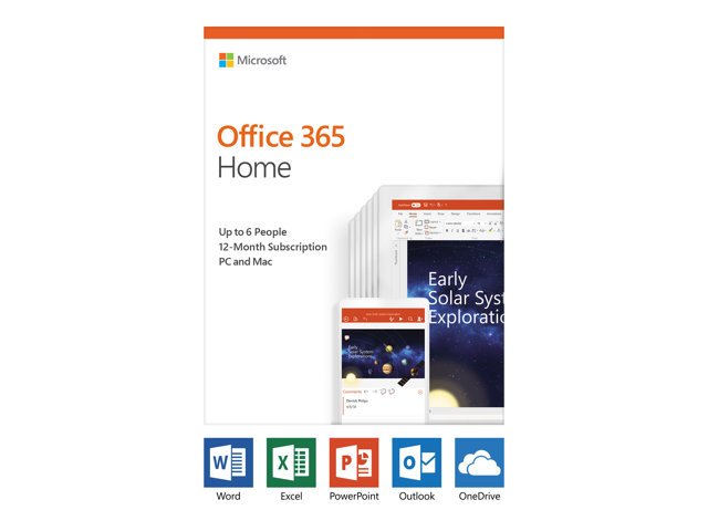Microsoft Office 365 Home - Version boîte (1 an) - jusqu'à 6 personnes - sans support, P4 - Win, Mac, Android, iOS - français - France