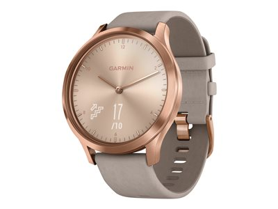 Garmin vívomove HR Premium 43 mm rose gold stainless steel smart watch with band suede