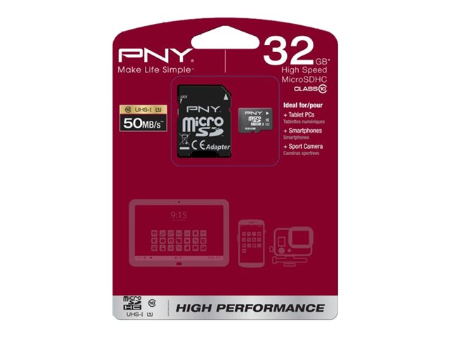 PNY High Performance - Flash-Speicherkarte - 32 GB - microSDHC UHS-I