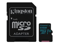 Kingston Canvas Go! - Carte mémoire flash (adaptateur microSDXC vers SD inclus(e)) - 64 Go - Video Class V30 / UHS-I U3 / Class10 - microSDXC UHS-I