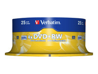 Verbatim - 25 x DVD+RW - 4.7 GB 4x - matt silver - spindle