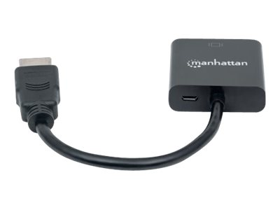 Manhattan HDMI to VGA Converter cable, 1080p, 30cm, Male to Female, Optional USB Micro-USB Power Port, Black, Polybag