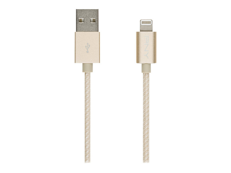 PNY - Lightning-Kabel - USB (M) bis Lightning (M) - 1.2 m - Gold - für Apple iPad/iPhone/iPod (Lightning)