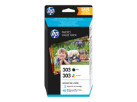 HP 303 Photo Value Pack - Brillant - pack de 2 - 4 ml - noir, tricolore à base de colorant - cartouche imprimante/kit papier - pour Envy Photo 62XX, Photo 71XX, Photo 78XX