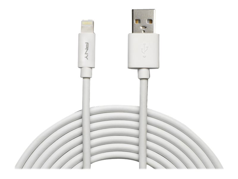 PNY Charge & Sync - Lightning-Kabel - USB (M) bis Lightning (M) - 3 m - weiß - für Apple iPad/iPhone/iPod (Lightning)
