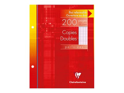 Copies doubles Clairefontaine - 200 Feuillets doubles - 17 x 22 cm - Grands carreaux - 2 trous