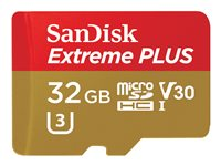 SanDisk Extreme PLUS Flash memory card (microSDHC to SD adapter included) 32 GB