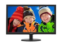 "Philips V-line 223V5LHSB2 - Écran LED - 22"" (21.5"" visualisable) - 1920 x 1080 Full HD (1080p) - 200 cd/m² - 600:1 - 5 ms - HDMI, VGA - noir texturé, ligne de contour noire"