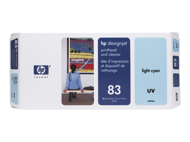 HP - Light cyan - printhead with cleaner - for DesignJet 5000, 5000ps, 5000ps uv, 5000uv, 5500, 5500 uv, 5500ps, 5500ps uv