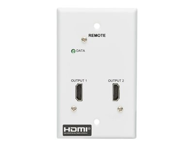Tripp Lite HDMI over Cat6 Receiver, 2-Port Wall Plate - 4K 60 Hz, HDR, 4:4:4, PoC, HDCP 2.2, 230 ft. (70.1 m), TAA