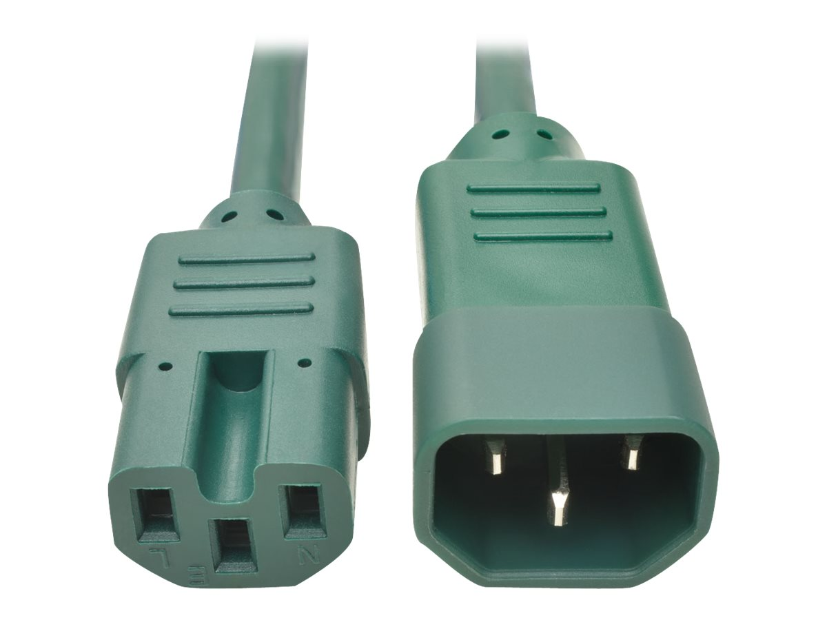 Tripp Lite 3ft Heavy Duty Power Extension Cord 15A 14 AWG C14 C15 Green 3' - power cable - 90 cm