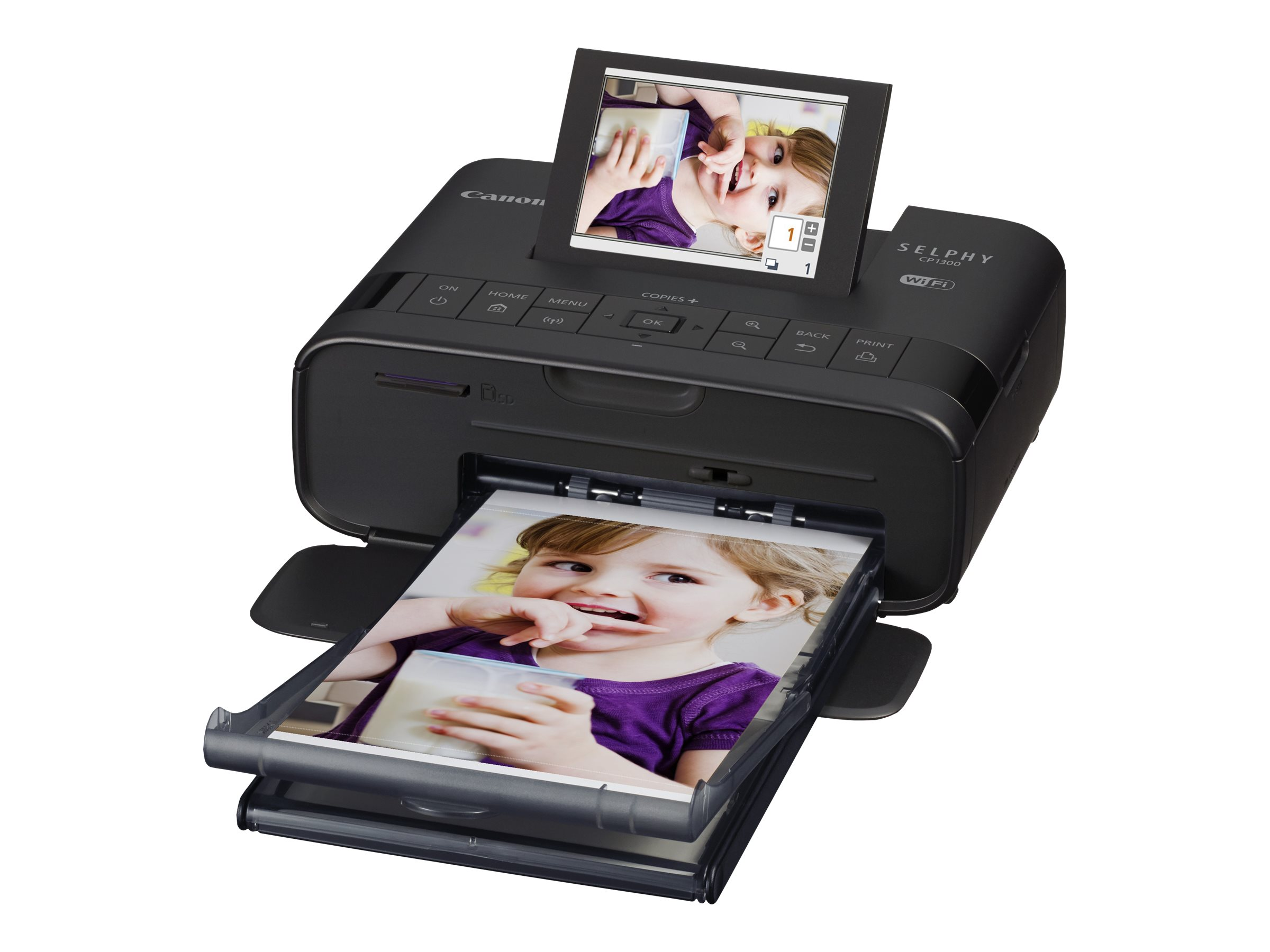 Canon SELPHY CP1300 - Drucker - Farbe - Thermosublimation - 148 x 100 mm bis zu 0.78 Min./Seite (Farbe) - USB, USB-Host, Wi-Fi