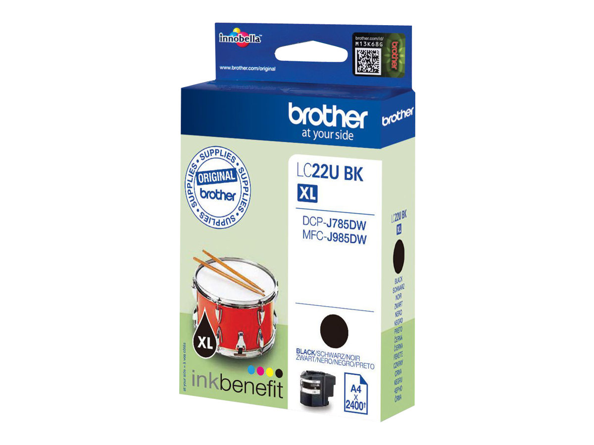 Brother LC22UBK - XL - Schwarz - Original - Tintenpatrone - für Brother DCP-J785DW, MFC-J985DW; INKvestment Work Smart MFC-J985DW, MFC-J985DW XL