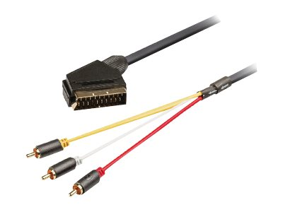 König - Video- / Audiokabel - SCART (M) switchable bis RCA x 3 (M) gerade - 2 m - Anthrazit - geformt