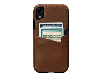 Sena Dean Lugano Leather Snap On Wallet Back cover for cell phone full-grain leather saddle