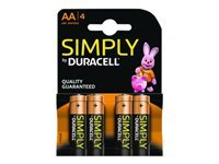 Duracell Simply MN1500B4S - Battery 4 x AA type Alkaline