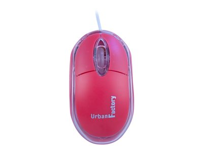 Urban Factory Cristal Mouse Optical USB 2.0, 800dpi, Internal Light, Red Mouse wired USB