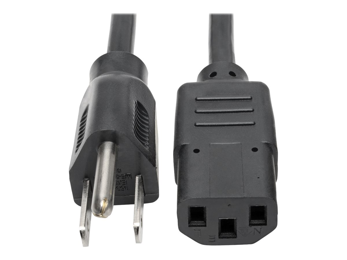 Tripp Lite 1ft Computer Power Cord Cable 5-15P to C13 10A 18AWG 1' - power cable - 30 cm