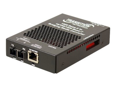 Transition Networks Stand-Alone 10/100/1000 Ethernet Media Converter - fiber media converter - 10Mb LAN, 100Mb LAN, GigE