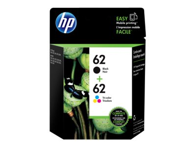 HP 62 2-pack black, dye-based tricolor original ink cartridge