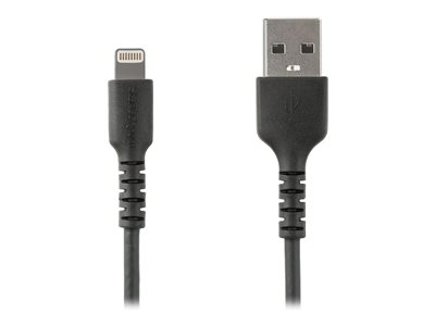 StarTech.com 1m(3 ft) Durable Black USB-A to Lightning Cable, Heavy Duty Rugged Aramid Fiber USB Type A to Lightning Charger/Sync Power Cord, Apple MFi Certified iPad/iPhone 12 Pro Max - iPhone 7/8/11/11 Pro (RUSBLTMM1MB)