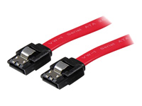 StarTech.com 18in Latching SATA Cable - SATA cable - Serial ATA 150/300/600 - SATA (R) to SATA (R) - 46 cm - latched - red - for P/N: PEXSAT31E1, SATSASBAY425, PEXSAT32, SATABAY425BK, DRW110SATBK