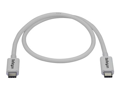 StarTech.com 40Gbps Thunderbolt 3 Cable - 1.6ft/0.5m - White - 5k 60Hz/4k 60Hz - Certified TB3 USB-C Charger Cord w/ 100W Power Delivery (TBLT34MM50CW) - Thunderbolt cable - USB-C (M) to USB-C (M) - USB 3.1 Gen 2 / Thunderbolt 3 / DisplayPort 1.2 - 50 cm - 4K support - white - for P/N: CDP2HDUACP, CDP2HDUACPW, TB33A1C