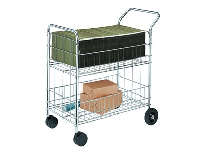 Fellowes Mail Cart Trolley 2 shelves steel wire chrome