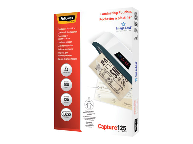 Image of Fellowes Laminating Pouches Capture 125 micron - 100-pack - glossy - A4 - lamination pouches