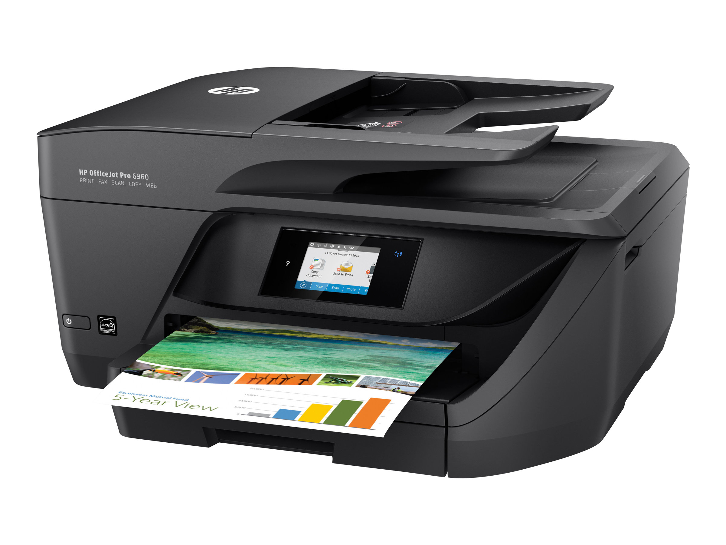 Imprimante HP Color Officejet Pro 6960 All-in-One vue 3/4 droite