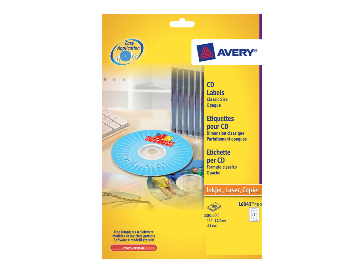 Avery CD/DVD Labels Classic Size - Weiß - 117 mm rund 200 Etikett(en) (100 Bogen x 2) CD/DVD-Etiketten