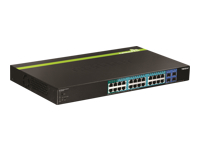 TRENDnet TPE TPE-2840WS 28-Port Gigabit Web Smart PoE+ Switch - Switch - Managed - 4 x 10/100/1000 (PoE+) + 20 x 10/100/1000 (PoE) + 4 x SFP - desktop, rack-mountable - PoE+ (185 W)