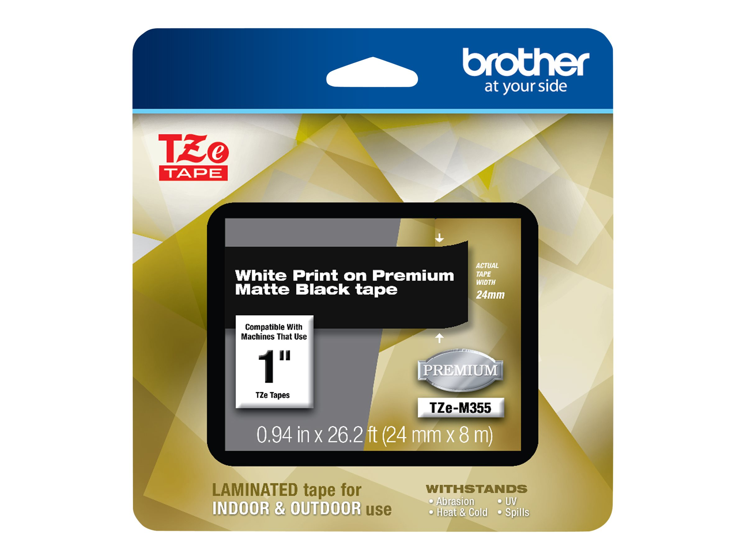 Brother TZe-M355 - laminated tape - 1 roll(s) - Roll (2.4 cm x 8 m)