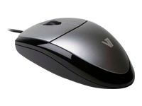 V7 MV3000 full sized Plug & Play USB optical LED mouse - Mouse - optical - 3 buttons - wired - USB - silver with black - retail