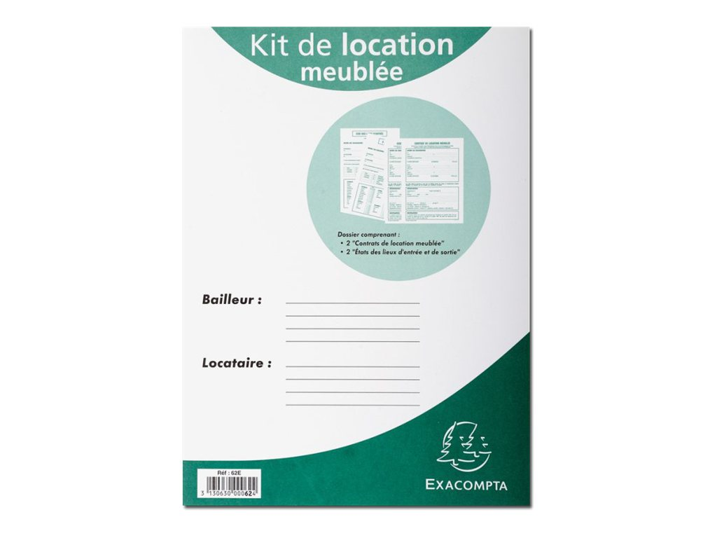 Exacompta contrat de location meubl registres for Location meuble